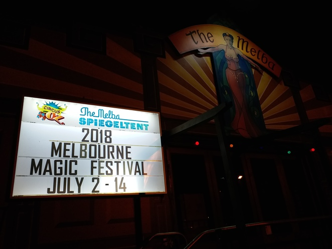 At the entrance of the Melba Spiegeltent, Collingwood. Image credit: Aridhi Anderson