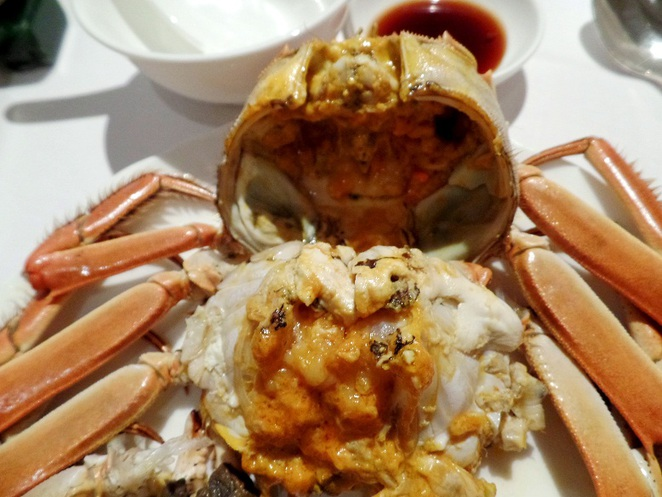 steamed hairy crab, li bai cantonese restaurant singapore