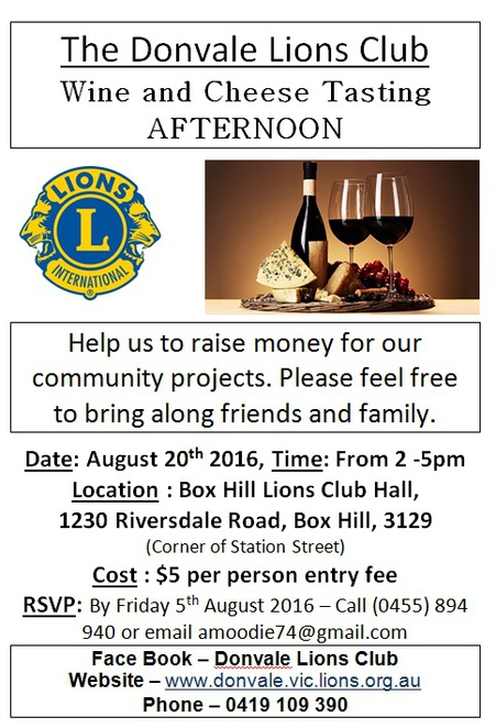 The Donvale Lions Club Wine and Cheese Tasting Afternoon