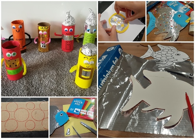 toilet roll craft, activities, crafts, rainbow fish, school holidays, children, paper crafts, things to do, indoors, coronoavirus, how to, school holiday crafts, preschoolers, toddlers, primary school age, australia, foil, aluminium foil,