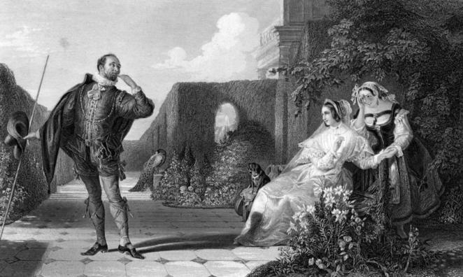 Malvolio courts Olivia in a scene from the Twelfth Night