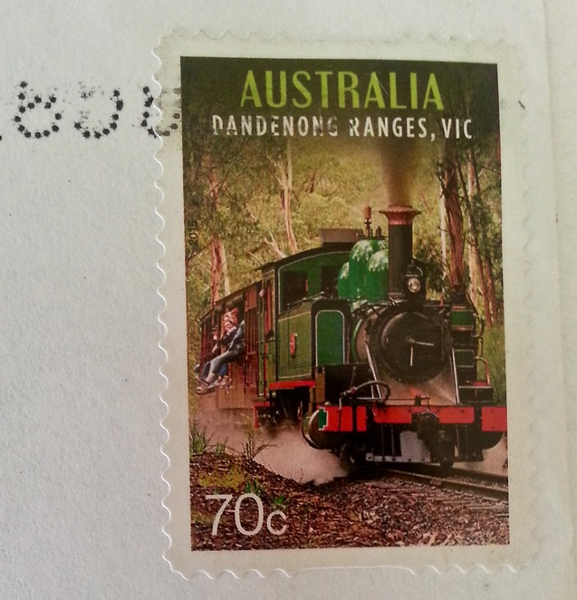 Used stamp, australian 70 cent stamp, steam train stamp, postage stamp