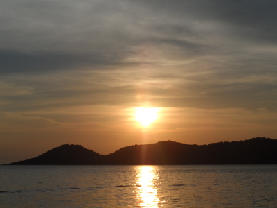 View, Sunset, Koh Samet, boat