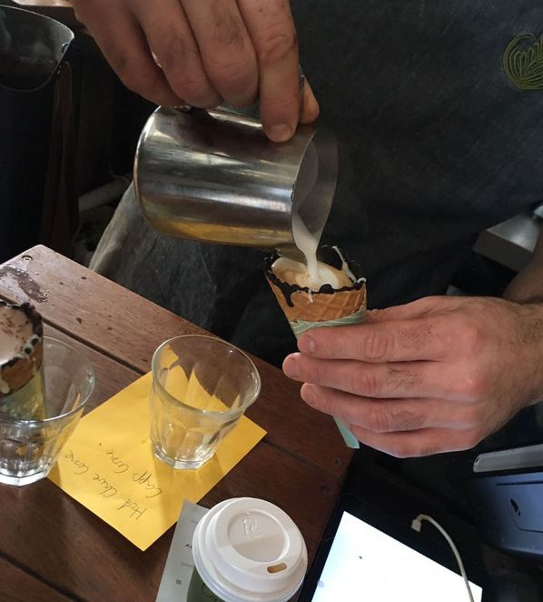Coffee in a cone in the making