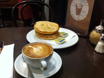 The coffee and toasted Turkish bread are reasonably good, Strand Espresso