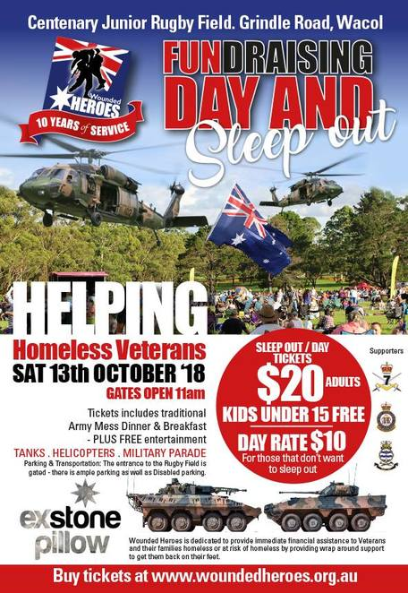 exercise stone pillow 2018, alcohol free, fundraising day and sleepover, community event, fun things to do, fundraiser, charity, wounded heroes australia, exsp18, wacol, homeless veterans, veteran families, SEQ, military display, army, airforce, navy, kids activities, sunset memorial service, army mess dinner, army breakfast, raffle, special guest speakers