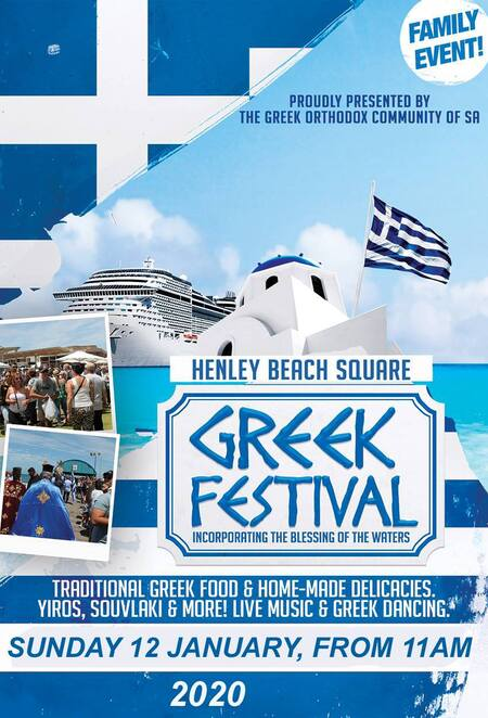henley beach square greek festival 2020, traditional greek fod, home made delicacies, yiros, souvlaki, live music, greek dancing, the greek orthodox community of sa, cultural event, community event, fun things to do
