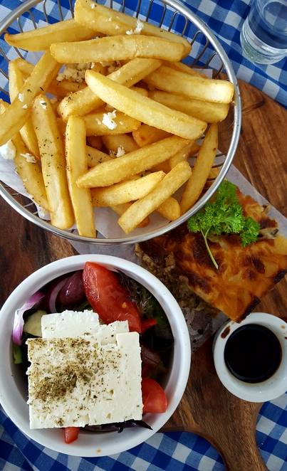 Lunch, Greek food, traditional, casual