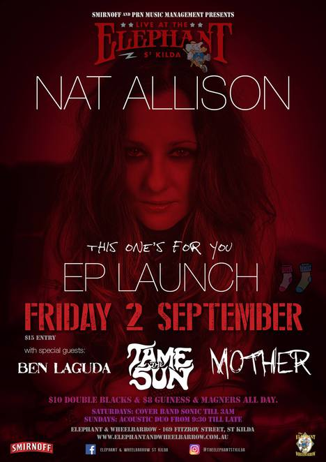 nat allison, album launch, elephant & wheelbarrow, st kilda, ep launch, this one's for you, rocking party, songstress, singer, vocalist, humane society for animal welfare, josie jason, anyone for tennis, music, nightlife, community event, fun things to do, songwriter, nat allison management