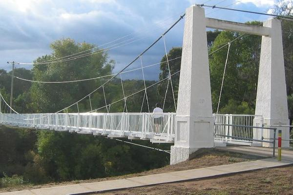Queanbeyan River Suspension Bridge. Source - City News