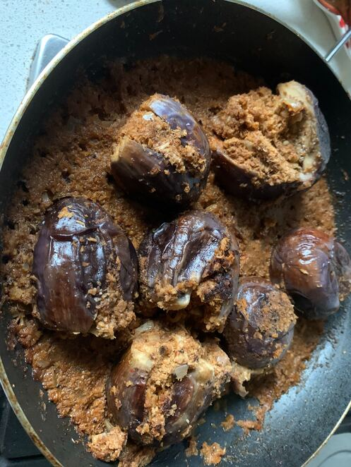 spiced eggplants with fragrant coconut filling
