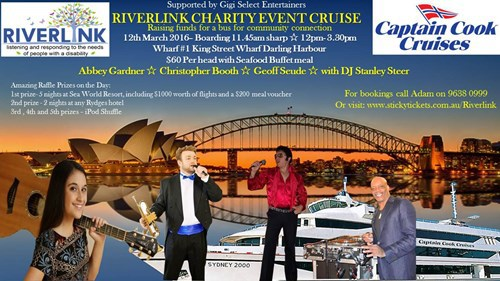 Sydney harbour cruises, Riverlink Interchange, disability help, cruise Sydney Harbour, charity cruises Sydney Harbour, respite care, carer's services, needs of people with disability