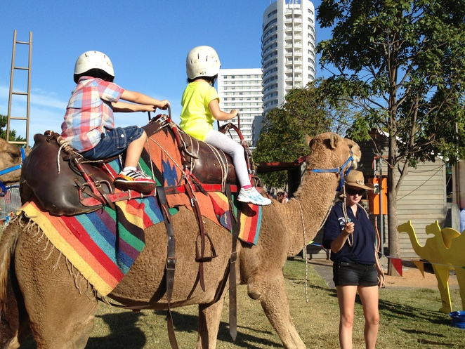 The camel ride is just one of the many attractions in the Sydney Royal Easter Show