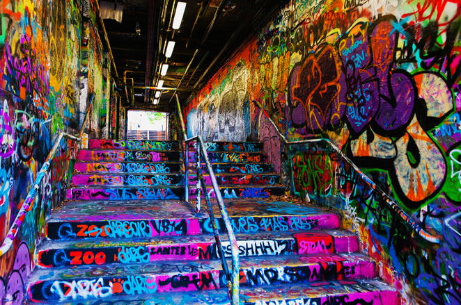 sydney university, graffiti tunnel, street art