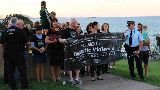 Walk against domestic violence, candlelight ceremony, Sunshine Coast Council, Alexandra Headlands, Mooloolaba, Loo with a View, Centacare SCOPE, shoes on the beach, in memory of those who have lost their lives, say NO to domestic violence