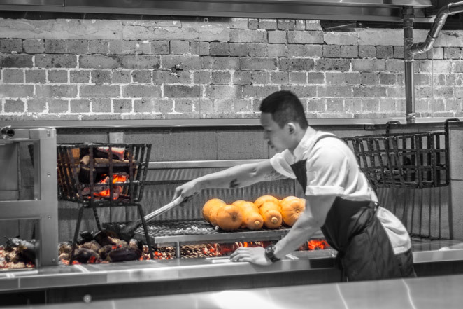 burnt ends kitchen and bar, char grilled, fire pit, barracks, burntends, coal-fired, skewers, baos,