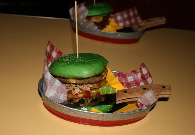 green burgers Archie Brothers