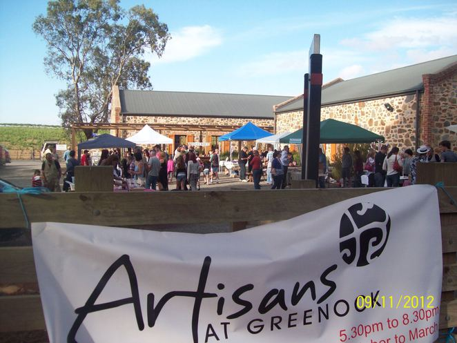 Artisans at Greenock Market, Greenock Oval, Greenock Hotel, Murray Vineyards, Corpucunia Olives, Kallescke Wines, Yambala