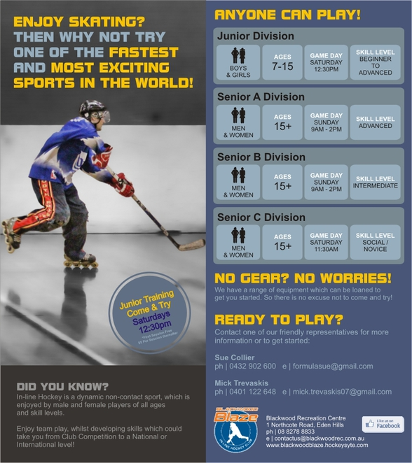 in-line hockey, Blackwood Blaze ILHC, Blackwood Recreation Centre, inline skating, hockey, juniors, come'n'try, come & try