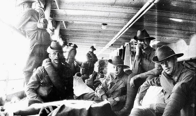 Life on Board the Troopships at ANZAC Cottage. Wounded and ill men returning to Australia on the SS Kyarra in mid-July 1915.
