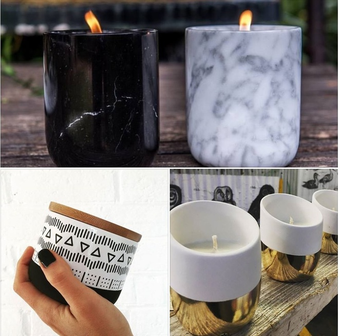Luna and Luxe soy candle marble