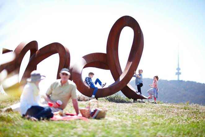 national arboretum, canberra, picnic spots, sculptures, wide brown land, views, visitors centre, art, outdoor art, words, sculpture trail,