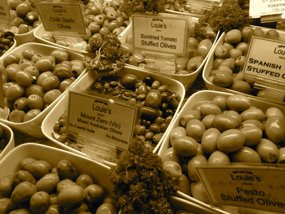 Olive display at Louie's Deli, Malvern (c) JP Mundy