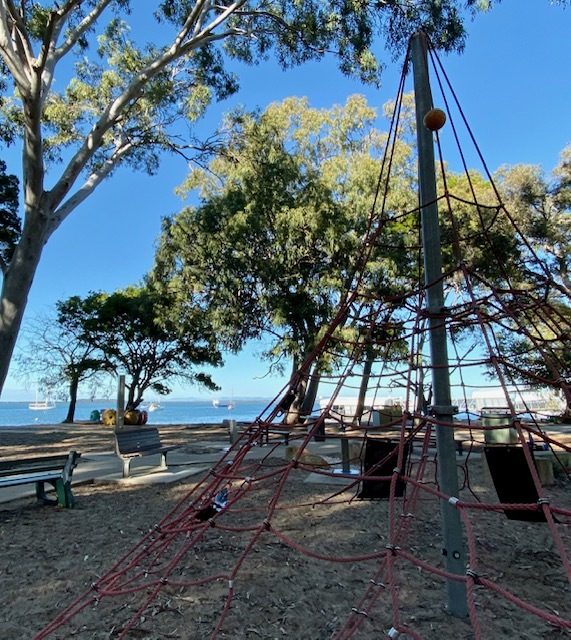 This fantastic spider web provides older children with graet views of the bay