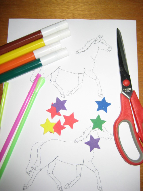Preschool Craft Puppet Horse Colour-in color-in