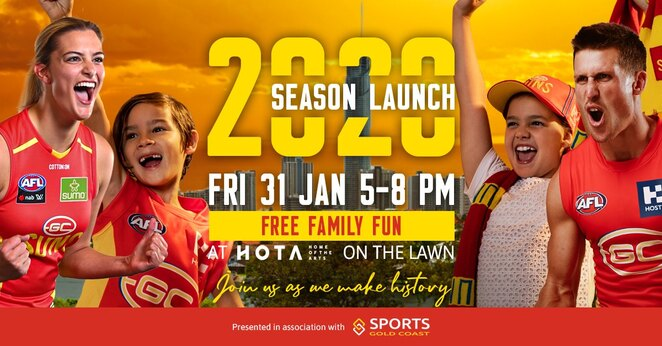 The Gold Coast SUNS AFL 2020 Season Launch, meet AFL players, free family event, beach training session