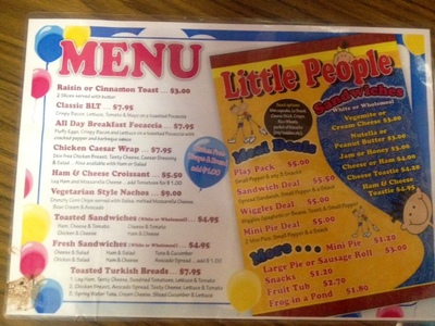 Tiddlywinks menu