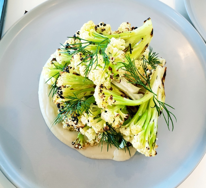 Vegetarian, cauliflower, smoky, herbs, beans, lunch