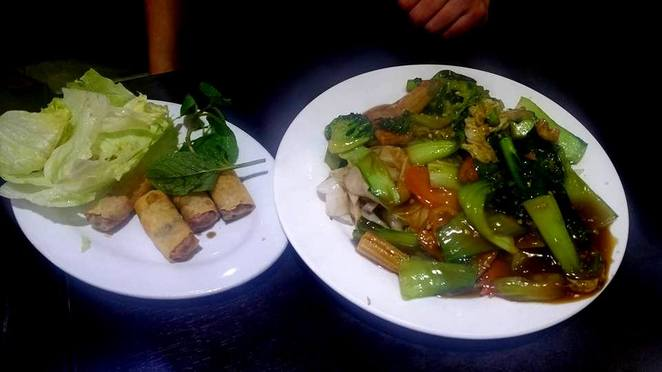 vegetarian spring rolls, Chinese broccoli, Pho Minh Long Ringwood
