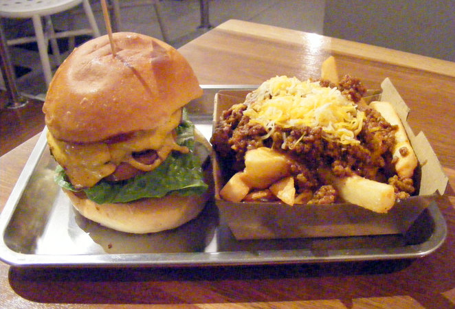 Classic Burger and Chili Fries at Ben's Burgers