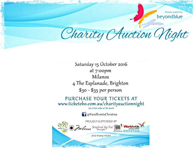 beyond blue, charity auction night, milanos in brighton, fundraiser, making a difference, depression, anxiety, raffles, silent auction, live auction, door prizes, finger foods, hand massages, barry richards, goodie bags, mc/auctioneer