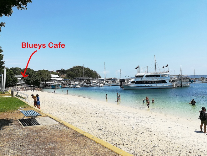 blueys cafe, nelson bay, coffee, breakfast, brunch, lunch, dinner, views, water views, d albora marinas, port stephens, best cafes, ocean views, casual, family friendly, relaxed, near dolphin watching cruises, near whale watching cruises, near shops, near hotels, near playgrounds,