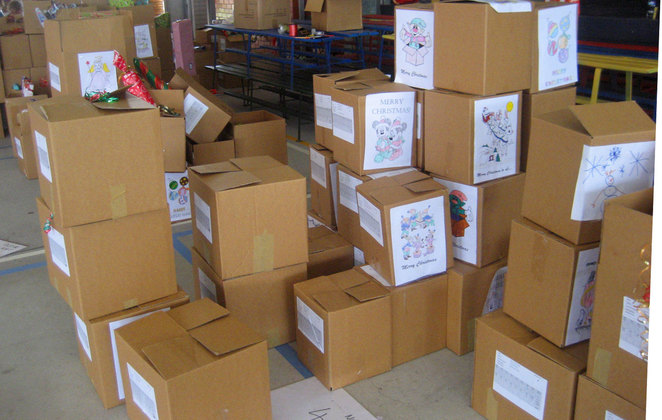Boxes ready to be sent out to needy families at Christmas