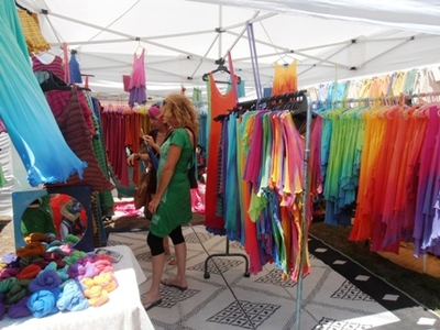 These rainbow coloured items clothing at the Byron Bay Community Markets reflect the colourful ambiance of the township.
