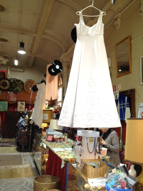 charity, op shop, mission, Sacred Heart, wedding dress