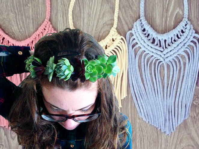 Flower Crown & Upcycled Macramé Necklace