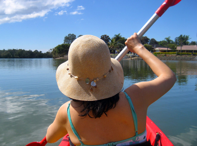Kayaking up Currumbin Creek