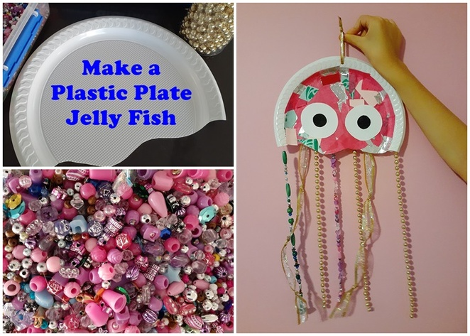plastic plate craft, jelly fish, australia, kids crafts, things to make, crafts, easy, budget, toddlers, preschoolers, jelly fish, beads, ribbon,