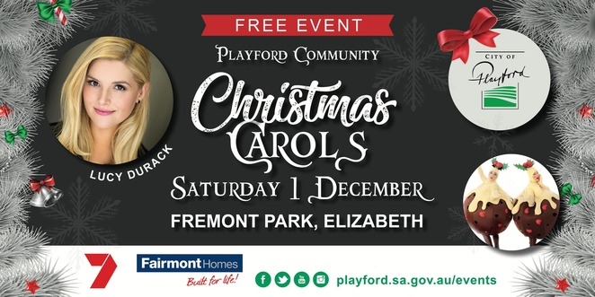 playford community christmas carols 2018, communithy event, fun tings to do, fremont park, elizabeth sa, lucy durack, outdoor convert, live music performance, performing arts, australian girls choir, playford carols band, entertainment, fun for kids, variety shows, once upon a princess, eddie and ellie the elves, christmas spirit, santa clause, christmas event, christmas carols