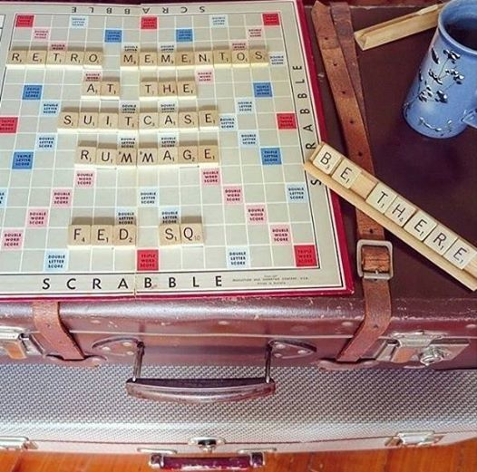 suitcase rummage, scrabble, retro, vintage, trash and treasure