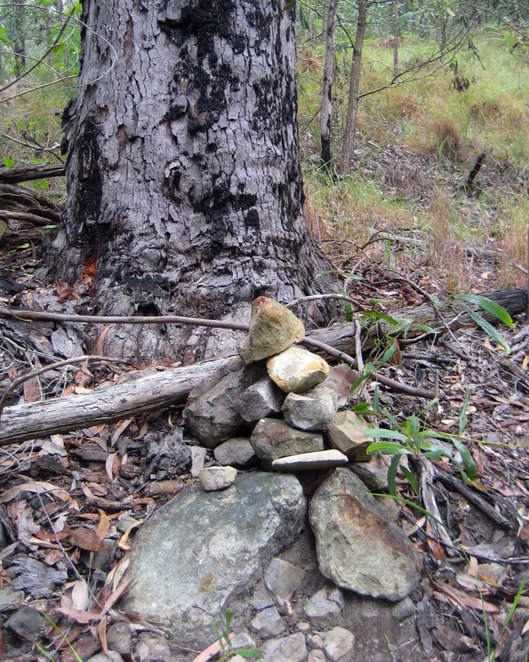 The stone cairn that marks the start of the path up Mt Tibberoowuccum