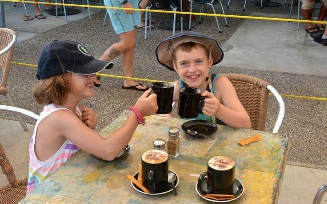 Cheers! Hot chocolate followed by breakfast while waiting for the dolphin feeding