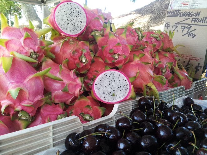 west end markets davies park dragonfruit cherries