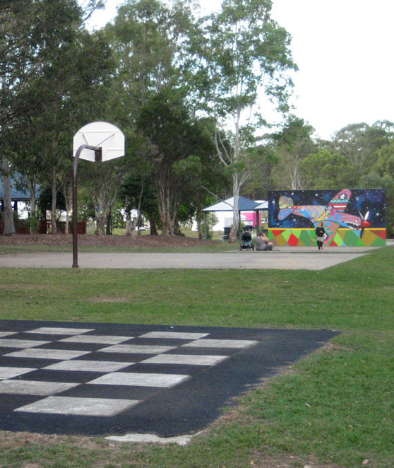 Chess board, Basketball Court and Handball Court at the 7th Brisbane Park, Chermside