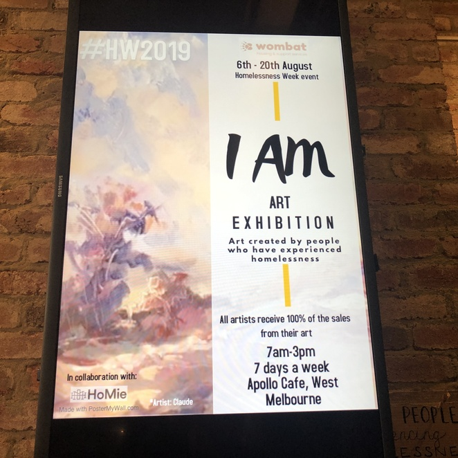 I AM art exhibition Apollo Cafe homelessness Wombat Housing
