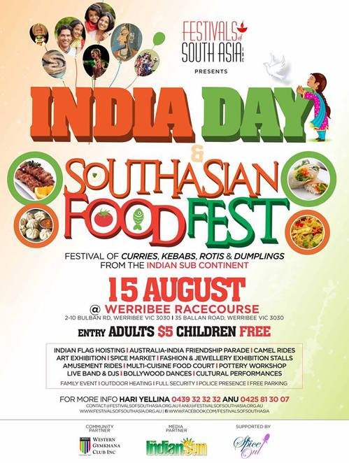 India Day, independence day, street food, entertainment, music, dance, bollywood, children's rides, werribee racecourse, august